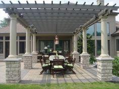 Patio Design with Pergola. Large Backyard Landscaping, Backyard Garden Design, Patio Design, Backyard Designs, House Design, Backyard Pavilion, Pergola Patio, Backyard Patio, Metal Pergola