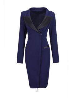Lapel Color Block Patchwork Split Bodycon Dress Only $18.36 USD More info...