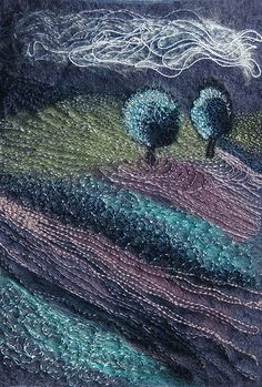 contemporary embroidered landscape textile art Two Trees by kayla coo, via Flickr