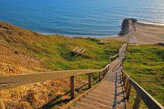 Die lange Treppe an den Bovbjerg-Klippen (DK)