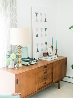 Mid-Century Home Tour with lots of Warm Woods and Mint Green