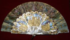 ANTIQUE FRENCH CARVED GOLD MOTHER PEARL HAND PAINTED HAND FAN #Victorian