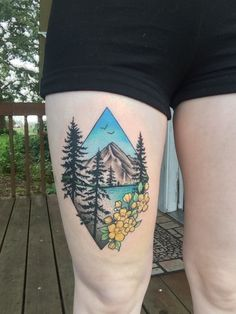 tattoos-org: Landscape Tattoo Oregon tattoo done. Wolf Tattoos, Finger Tattoos, Leg Tattoos, Body Art Tattoos, Sleeve Tattoos, Tatoos, Piercing Tattoo, Piercings, Diy Tattoo