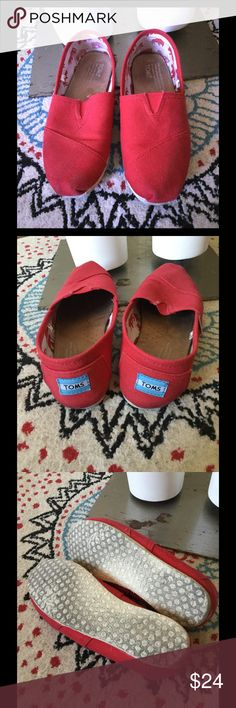 Valentine's Day red TOMS! Size 10 Red TOMS, perfect for Valentine's Day! Size 10, normal wear. #PlywoodAndPearls TOMS Shoes Flats & Loafers
