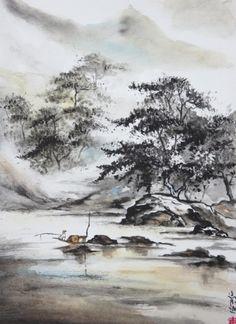 aquarelle,abby,rochers,peinture chinoise,pêcheur,pêche,barque,mer,pins