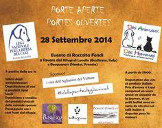 28/9 Porte aperte: #evento di raccolta fondi a favore della #LegadelCane di #Lavello (PZ) e di Bougeunais (Nantes, Francia)