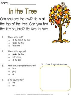 Can you find the squirrel in the tree? Fall Reading FREEBIE!