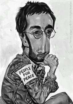 """""""Až ti bude v životě nejhůř, otoč se ke slunci a všechny stíny padnou za tebe."""" John Lennon -karikatúra A3, digitálna kresba"""
