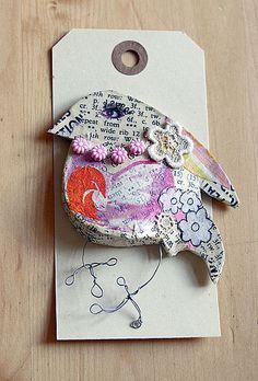 Papier Mache Bird Brooch