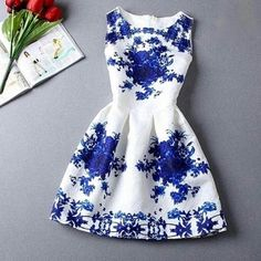 {Final Price}Blue & White Floral Fit & Flair Dress ✨Blue and White Floral Fit & Flair Dress✨                        ✨Please note this dress runs a bit small, so feel free to ask any questions regarding sizing. GlamVault Dresses Mini