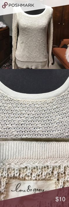 Lou & Grey sweater White knit pullover sweater says xs but would fit a small Lou & Grey Sweaters Crew & Scoop Necks