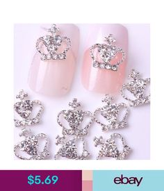 Nail Art Accessories 10 Silver 3D Crystal Rhinestone Crown Nail Art Tips  Decal Diy Craft Decor 5f93e60be2c7