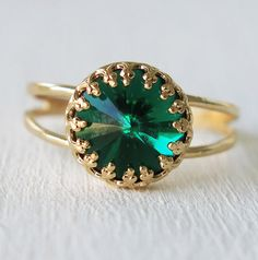 emerald ring gold emerald ring gold ringgreen por sohocraft en Etsy