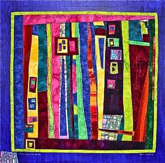 "Playing in the Quad by Geri deGruy Fiber ~ 18"" x 18"""