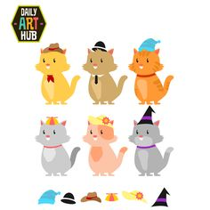 http://dailyarthub.com/product/cats-in-cool-hats-clip-art-set/