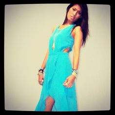 Sky blue.. http://www.maynovember.com/collections/all-apparel/products/hot-delicious-lace-up-hi-lo-flowy-dress