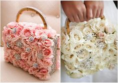 I love flower girl purse bouquets.