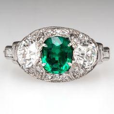 Antique Cushion Cut Emerald Engagement Ring w/ Diamonds & Milgrain Edging Platinum 1920's - EraGem