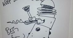 Peter Capaldi frequently draws Daleks with feet and they're amazing : doctorwho