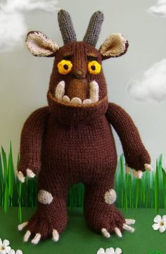 Knitting Pattern for Gruffalo Toy - Inspired by the beloved children's character, this stuffed toy is 10.5 inches tall.