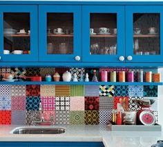 cozinha colorida parede azulejo adesivo colorido ladrilho