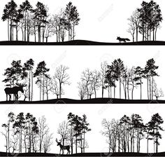 set of different landscapes with pine trees and wild animals, forest silhouettes with deer, elk, fox, hand drawn vector illustration Stock Vector - 40619106
