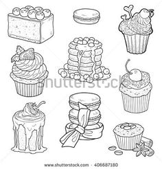 Pie Of Book Vetores e Vetores clipart Stock Food Coloring Pages, Coloring Books, Doodle Art, Kawaii Doodles, Food Drawing, Hand Embroidery Designs, Digi Stamps, Adult Coloring, Food Illustrations