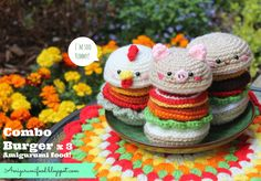 Combo Burger x 3 Amigurumi food!