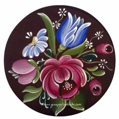 Atelier Gina Pafiadache: Bouquet in Bauernmalerei + Risk ! Folk Art Flowers, Flower Art, Fabric Painting, Painting On Wood, Rosemaling Pattern, Norwegian Rosemaling, Tole Painting Patterns, Scandinavian Folk Art, Russian Painting