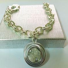 Wrap Silver Wire Bracelet,Druzy Stone Jewelry, Druzy Stone Bracelet, Silver Wire Bracelet, White Stone Jewelry, White Stone Bracelet.