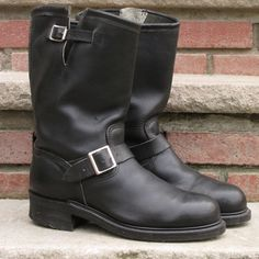 Men's Vintage Black Leather Engineer Motorcycle Boots size 9.5 E in Clothing, Shoes & Accessories, Men's Shoes, Boots | eBay