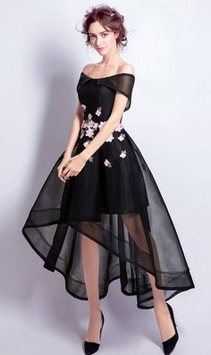 Black A-line Off-the-shoulder Prom Dress, High Low Tulle Evening Dress, Party Dress With Embroidery Affordable things for people that like to save money. Prom Dress Black, High Low Prom Dresses, Trendy Dresses, Homecoming Dresses, Cute Dresses, Beautiful Dresses, Black Gowns, Maxi Dresses, High Low Gown