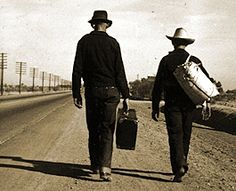 This photo from the great depression reminds me of George and Lennie, when they were walking to their new job after they got off of the bus. I imagine them carrying all of their luggage down a gravel path such as this one when I read it. Also, the height difference matches it as well. On page 2 it says, ¨Every part of him was defined; small, strong hands, slender arms, a thin and bony nose.¨ This describes the appearance of George.