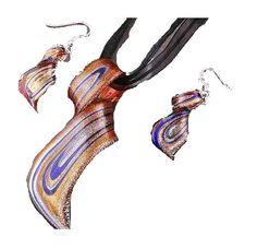 Schmuckset Murano Style Kette + Ohrringe Hand Made Schmuckband NEU (1043[1])Willkommen im  www.Chelsea-Fashion-Glamur.de  Shop Secondhand und Neuware Mode zu günstigen Preisen   Dies und Das für jeden was.....