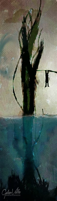 Beanstalk - New Media Painting - Galen Valle - Digital Artist. Jack is having a bad day.