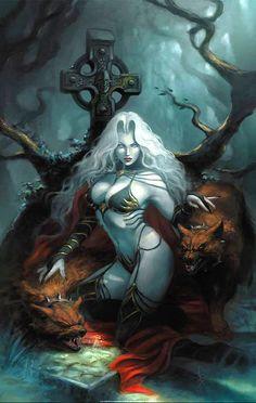 Lady Death - Demi-god of Greylore Fantasy Girl, Fantasy Female Warrior, Fantasy Demon, Fantasy Art Women, Dark Fantasy Art, Fantasy Artwork, Female Art, Arte Digital Fantasy, Beautiful Dark Art