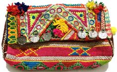 Boho Gypsy tribal Hippie Ethnic Kutchi multi color Vintage Banjara clutch #Handmade #Clutch