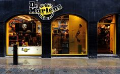 A general view outside the Dr. Martens Central London Store on its Birthday on April 2010 in London, England. Martens have sold more than pairs since their launch on April Dr Martens Shop, Dr. Martens, Dr Martens Boots, Retail Store Design, 50th Birthday, London England, Fashion Brand, Identity, Anniversary