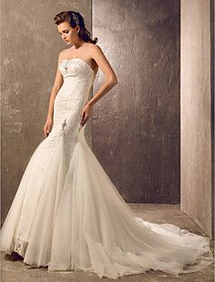 Trumpet/Mermaid Sweetheart Court Train Tulle And Lace Weddin... – USD $ 127.99