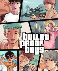 Bad ass level 100 000 GTA vers. bulletproof boys (Plz look at V :'D)