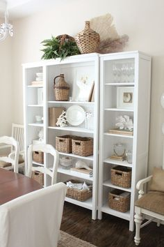 Styling a bookshelf using neutrals..... Dining room bookshelves? Hmm