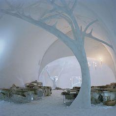 The ICEHOTEL, located in the village of Jukkasjärvi, about 17 km from Kiruna, Sweden