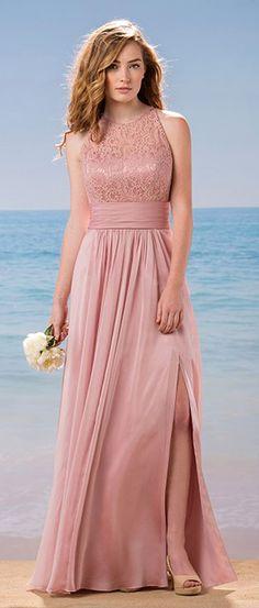 Glamorous Lace & Silk-like Chiffon Jewel Neckline Bridesmaid Dresses With Beads
