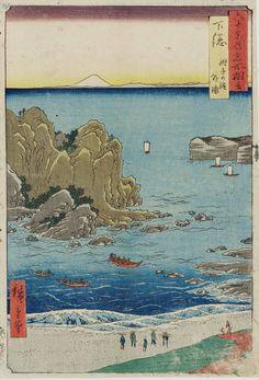 Utagawa Hiroshige: Shimosa Choshi no hama soto-ura / Rokuju-yo Shu Meisho Zue - British Museum Japanese Art Styles, Japanese Artwork, Japanese Prints, Chinese Prints, Japan Painting, Art Japonais, Samurai, Art Graphique, Japan Art