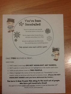 """You've Been Snowballed"" (Like ""You've Been Boo'd"")  School Staff Social Committee Idea Note - Clip art purchased from Scrappin Doodle."