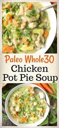 Paleo Whole30 Pot Pie Soup- comfort food made healthy! Gluten free, dairy free and low FODMAP.