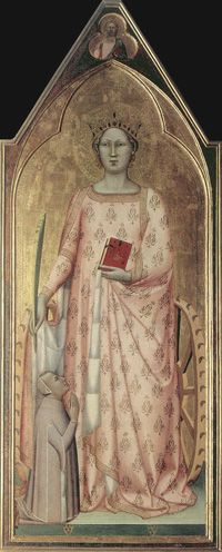 c.1340, Bernardo Daddi,St Catherine of Alexandria with Donor and Christ Blessing (detail),Museo dell'Opera del Duomo,Florence.