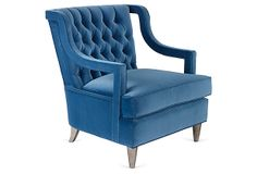 Loving the tufted chair with an interesting arm. Check out this item at One Kings Lane! Tufted Chair, Armchair, Furniture Inspiration, Design Inspiration, Beautiful Sofas, Accent Chairs, Upholstery, Furniture Design, Sweet Home
