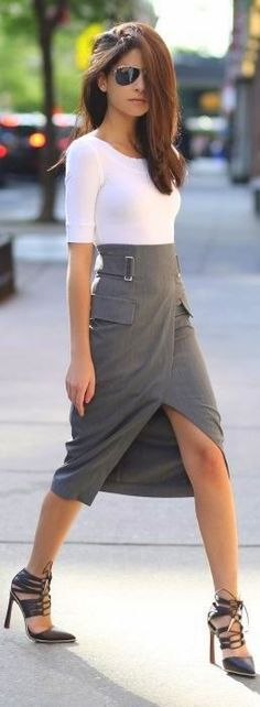 Grey high slit wrap, white top.