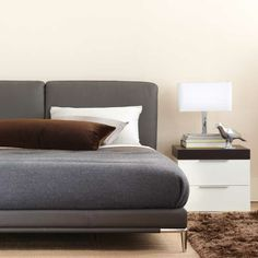 Luna bed in brown leather, Stage lacquer nightstand | Kasala